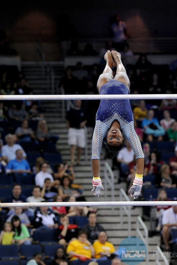 21 APR 2012:  Olivia Courtney of UCLA performs on the uneven bars during the Division I Women's Gymnastics Championship held at the Gwinnett Center Arena in Duluth, GA. Joshua Duplechian/NCAA Photos