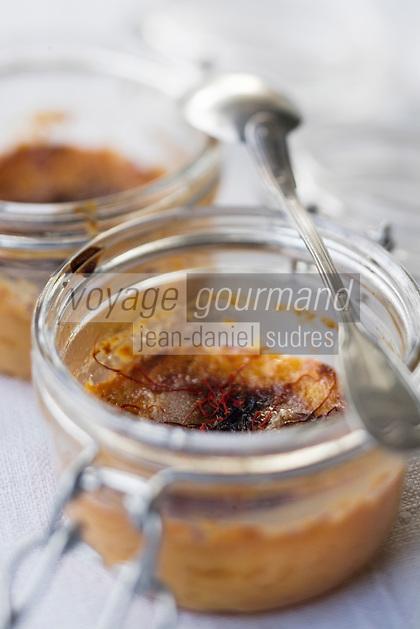 Europe/France/Midi-Pyrénées/46/Lot/ Cahors: Crème brulée au  safran du Quercy -recette de Martine Bouchet