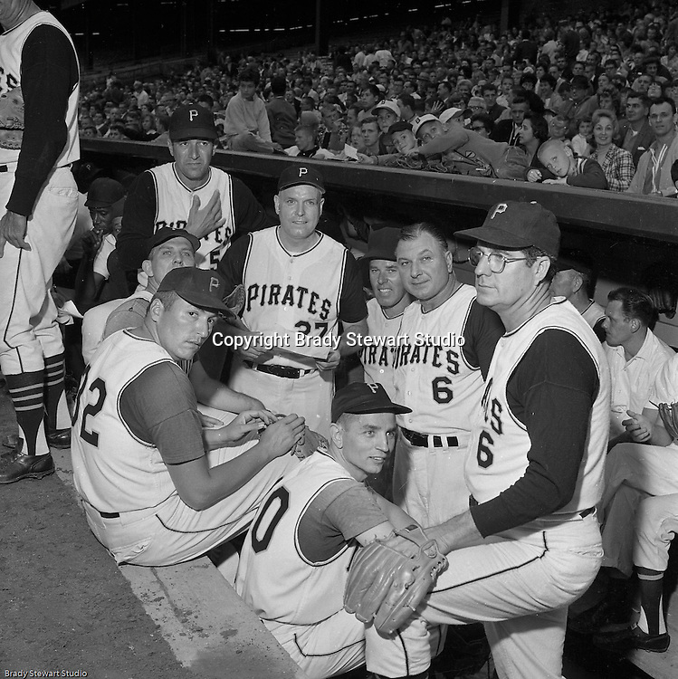 Pittsburgh PA: View of Pittsburgh Pirate old timers getting ready before the annual HYPO (Help Young Players Organize) game at Forbes Field. Prior to the game, the Old Timers played the local TV and Radio personalities in a few inning game.<br /> <br /> Had trouble with a most of them in this photo but I believe Jim Russell is #32 on the left.
