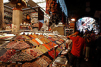 General view of stall in Spice Bazaar or Egyptian Market (Misir Carsisi), 1664, Koca Kasim Aga, Istanbul, Turkey. It is part of the New Mosque complex and is the second-oldest covered shopping area after the Grand Bazaar in the city. Picture by Manuel Cohen.