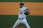 Ole Miss' Jake Morgan (44) pitches vs. Memphis at Oxford University Stadium in Oxford, Miss. on Tuesday, February 22, 2011. Ole Miss won 4-2 to improve to 4-0 on the year.