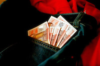 50 euro money bills / notes in a jeans pocket (16/11/2004)