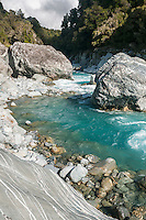 Scenic and wild Perth River with huge boulders, South Westland, West Coast, South Westland, New Zealand