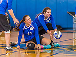 18 October 2015: Yeshiva University Maccabee Middle Blocker Gavriela Colton (right), a Junior from Teaneck, NJ, attempts a dig during game action against the College of Mount Saint Vincent Dolphins at the Peter Sharp Center, in Riverdale, NY. The Dolphins defeated the Maccabees 3-0 in the NCAA Division III Women's Volleyball Skyline matchup. Mandatory Credit: Ed Wolfstein Photo *** RAW (NEF) Image File Available ***