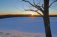 Winter Sunset on a Snowy Hilltop in Langdon New Hampshire