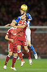 Aberdeen v St Johnstone&hellip;22.09.16.. Pittodrie..  Betfred Cup<br />Murray Davidson outjumps Graeme Shinnie<br />Picture by Graeme Hart.<br />Copyright Perthshire Picture Agency<br />Tel: 01738 623350  Mobile: 07990 594431