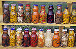 North America, Mexico, Baja California, Ensenada.  Pickled condiments for sale along the roadside in Baja California.