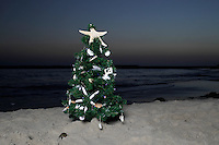 13 October 2013:  Christmas Tree on the beach in Corona Del Mar, CA.