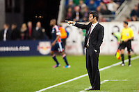 New York Red Bulls head coach Mike Petke. The New York Red Bulls defeated the New England Revolution 4-1 during a Major League Soccer (MLS) match at Red Bull Arena in Harrison, NJ, on March 20, 2013.