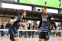 San Jose, CA - Saturday May 06, 2017: Jahmir Hyka celebrates scoring, Chris Wondolowski during a Major League Soccer (MLS) match between the San Jose Earthquakes and the Portland Timbers at Avaya Stadium.