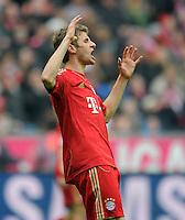 FUSSBALL   1. BUNDESLIGA  SAISON 2011/2012   29. Spieltag FC Bayern Muenchen - FC Augsburg       07.04.2012 Thomas Mueller (FC Bayern Muenchen)