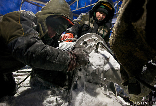 Workers from the company Bashneft builds a gas drilling well for Polar Light Company in the Nenets Autonomous Region in the Russian Arctic.