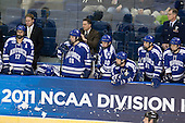 Derrick Burnett (Air Force - 17), ?, Jacques Lamoureux (Air Force - 21), George Michalke, III (Air Force - 18), Frank Serratore (Air Force - Head Coach), Paul Weisgarber (Air Force - 10), Casey Kleisinger (Air Force - 7), Jason Fabian (Air Force - 16), John Kruse (Air Force - 27), ? - The Yale University Bulldogs defeated the Air Force Academy Falcons 2-1 (OT) in their East Regional Semi-Final matchup on Friday, March 25, 2011, at Webster Bank Arena at Harbor Yard in Bridgeport, Connecticut.