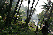Puil Island, Carteret Atoll, Papua New Guinea, on Sunday, Dec. 10, 2006.  Rising sea levels have eroded much of the coastlines of the low lying Carteret islands (situated 80km from Bougainville island, in the South Pacific), and waves have crashed over the islands flooding and destroying what little crop gardens the islanders have. Food is in short supply, banana and swamp taro crops are failing due to the salt contamination of the land, and the islanders live on a meagre one meal per day diet of fish and coconut. There is talk by the Autonomous Region of Bougainville government to relocate the Carteret Islanders to Bougainville island, but this plan is stalled due to a lack of finances, resources, land and coordination.