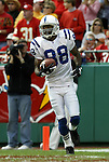 31 October 2004: Marvin Harrison walked untouched into the endzone for a touchdown giving the Colts a 6-0 lead. The Kansas City Chiefs defeated the Indianapolis Colts 45-35 at Arrowhead Stadium in Kansas City, MO in a regular season National Football League game..