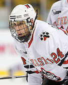 Drew Daniels (NU - 24) - The Northeastern University Huskies defeated the Harvard University Crimson 4-1 (EN) on Monday, February 8, 2010, at the TD Garden in Boston, Massachusetts, in the 2010 Beanpot consolation game.
