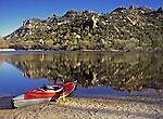Kayak rests along Granite Basin Lake within the Granite Mountain Wilderness area  near Prescott, Arizona