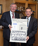 St Johnstone v Aberdeen.....07.12.13    SPFL<br /> Sir Alex Ferguson being presented with a poster at McDiarmid Park by Chairman Steve Brown. He was invited by St Johnstone FC to mark the 50th anniversary of a famous game in the club's history when a young 'Fergie' scored hat-trick against Rangers at Ibrox on the 21st December 1963. Saints winning the game 3-2<br /> Picture by Graeme Hart.<br /> Copyright Perthshire Picture Agency<br /> Tel: 01738 623350  Mobile: 07990 594431