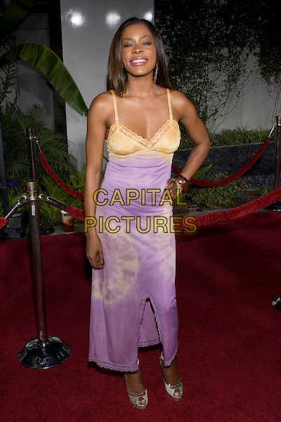 """GOLDEN BROOKS.At the """"Hustle & Flow"""" Los Angeles Film Premiere,.held at the Arclight Cinerama Dome, .Hollywood, California, USA, 20th July 2005..full length purple lilac yellow gold dress tie dye.Ref: ADM.www.capitalpictures.com.sales@capitalpictures.com.©Zach Lipp/AdMedia/Capital Pictures."""