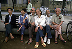 Group of old men pose in Hanoi, North Vietnam.  (Jim Bryant Photo).....