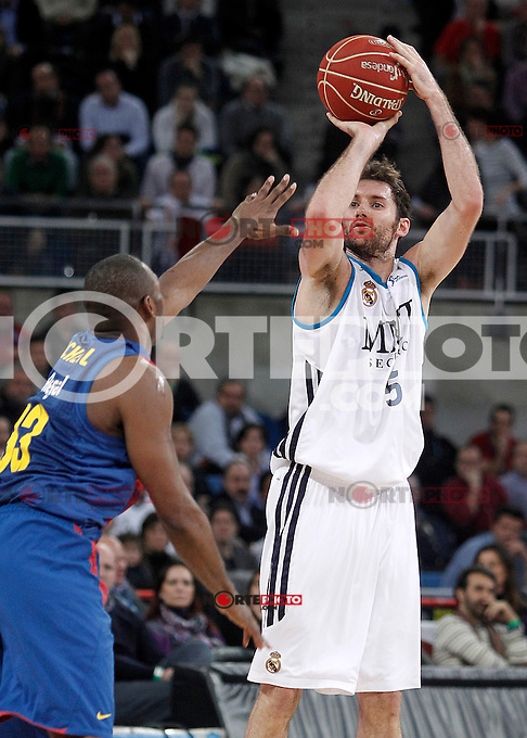 Real Madrid's Rudy Fernandez (r) and FC Barcelona Regal's Pete Mickeal during Spanish Basketball King's Cup match.February 07,2013. (ALTERPHOTOS/Acero) /Nortephoto