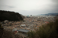 The devastated town of Rikuzentakata. Thousands of people died in this small town which ran out of body bags. On 11 March 2011 a magnitude 9 earthquake struck 130 km off the coast of Northern Japan causing a massive Tsunami that swept across the coast of Northern Honshu. The earthquake and tsunami caused extensive damage and loss of life.