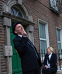 """Editorial Use Only. Bloomsday June  16th 2008, Dublin. Actors from Balloonatics theatre company perform the """"Calypso"""" chapter from  James Joyce novel Ulysses around Eccles St. and Dorset Street."""