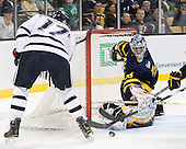 Paul Thompson (UNH - 17), Joe Cannata (Merrimack - 35) - The Merrimack College Warriors defeated the University of New Hampshire Wildcats 4-1 (EN) in their Hockey East Semi-Final on Friday, March 18, 2011, at TD Garden in Boston, Massachusetts.