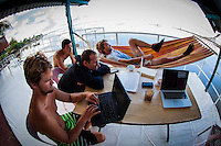 Teahupoo, Tahiti Iti, French Polynesia. Sunday 19 August 2012. Damien Hobgood (USA), CJ Hobgood (USA) and Brett Simpson (USA) fill in a lay day in Tahiti. The Billabong Pro Tahiti was called off today for the second day in a row due to small surf conditions. Photo: joliphotos.com