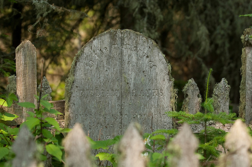 Wooden grave markes at Cemetery Island at Isle Royale National Park.