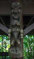 "A carved tiki of Hawaiian god ""KU"" at Hawai'i Tropical Botanical Garden, Onomea, Big Island of Hawaiʻi."