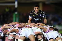 Kahn Fotuali'i of Bath Rugby watches a scrum. European Rugby Challenge Cup match, between Bath Rugby and Cardiff Blues on December 15, 2016 at the Recreation Ground in Bath, England. Photo by: Patrick Khachfe / Onside Images