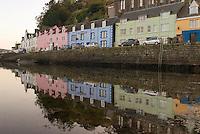 reflecions of buildings along Portree harbor, Isle of Skye