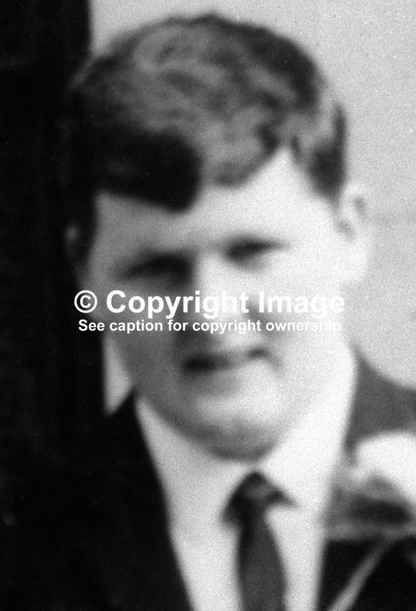 John Francis Green, Roman Catholic, originally from Lurgan, Co Armagh, N Ireland, who was shot dead on 10th January 1975 in the home of an elderly republican sympathiser near Castleblaney, Co Monaghan. At the time Green, member, Provisional IRA, was on the run having escaped from Long Kesh prison two years earlier. His brother, a priest, had gone to Long Kest prison to say Mass and was overpowered. Green walked out of the prison wearing his clerical garb.  For further information as to who allegedly killed John Francis Green go to Page 511 of Lost Lives.  197501100012a..Copyright Image from Victor Patterson, 54 Dorchester Park, Belfast, United Kingdom, UK...For my Terms and Conditions of Use go to http://www.victorpatterson.com/Victor_Patterson/Terms_%26_Conditions.html