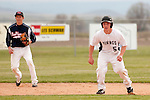 Vale's Austin Tolman leads off second against New Plymouth at Vale High School's Cammann Field on April 28, 2011. Tolman went 1 for 3 with two RBI's in Vale's 8-3 win.