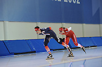 SCHAATSEN: SALT LAKE CITY: Utah Olympic Oval, 13-11-2013, Essent ISU World Cup, training, Benjamin Macé (FRA), Lotte van Beek (NED), ©foto Martin de Jong