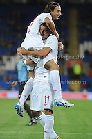 Kolarov(11) of Serbia and Manchester City celebrates with L Markovic of Serbia after another Serbian goal is scored during the Wales v Serbia FIFA World Cup 2014 Qualifier match at Cardiff City Stadium, Cardiff, Wales -Tuesday 10th Sept 2014. All images are the copyright of Jeff Thomas Photography-07837 386244-www.jaypics.photoshelter.com