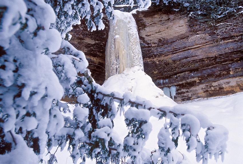 Frozen Munising Falls in winter in Pictured Rocks National Lakeshore near Munising, Mich.