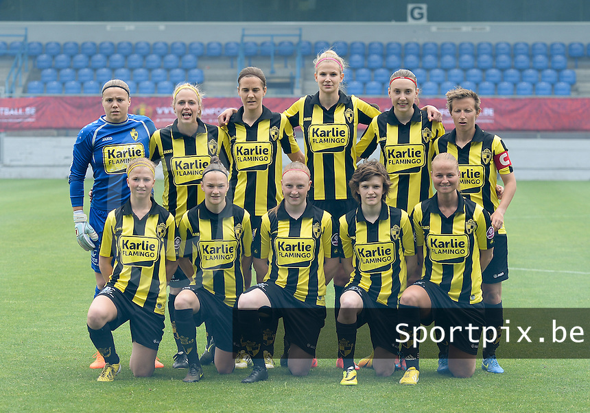 20150514 - BEVEREN , BELGIUM : Lierse's team pictured with Justien Odeurs , Caroline Berrens , Evelien Stoffels , Justine Vanhaevermaet , Hannelore Van Poppel , Niki Decock , Merel Groenen , Elke Van Gorp , Silke Leynen , Tinne Van Den Bergh and Dominique Vugts during the final of Belgian cup, a soccer women game between SK Lierse Dames and Club Brugge Vrouwen , in stadion Freethiel Beveren , Thursday 14 th May 2015 . PHOTO DAVID CATRY