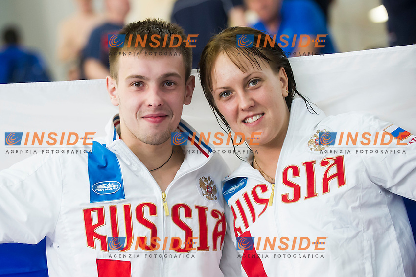 Victor Minibaev and Nadezhda Bazhina Team RUS gold medal<br /> Team event Final<br /> Day 01 09/06/2015  <br /> 2015 Arena European Diving Championships<br /> Neptun Schwimmhalle<br /> Rostock Germany 09-14 June 2015 <br /> Photo Giorgio Perottino/Deepbluemedia/Insidefoto