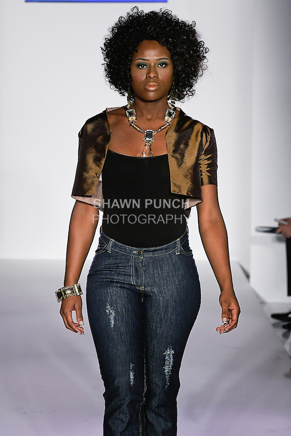 Model walks the runway in an outfit by Suzette A Kelly, from the Sarahi Spring Summer 2012 collection, during Nolcha Fashion Week: New York 2011