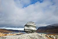 Rock in mountain wilderness, Kungsleden trail, Lapland, Sweden