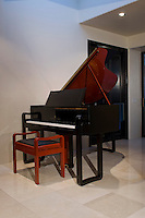 Black and red Grand Piano is seen against white wall with black door