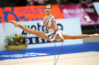 Marleena Saresvirta of Finland straddle leaps with rope during qualifications at 2006 Deriugina Cup Grand Prix in Kiev, Ukraine on March 17, 2006. (Photo by Tom Theobald)