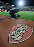 Rotherham 1 Sheffield Wednesday 2, 23/10/2015. New York Stadium, Championship. Second-half goals from Lucas Joao and Fernando Forestieri gave Sheffield Wednesday a derby victory at Rotherham. Rotherham United logo and cameraman at The New York Stadium. Photo by Paul Thompson.