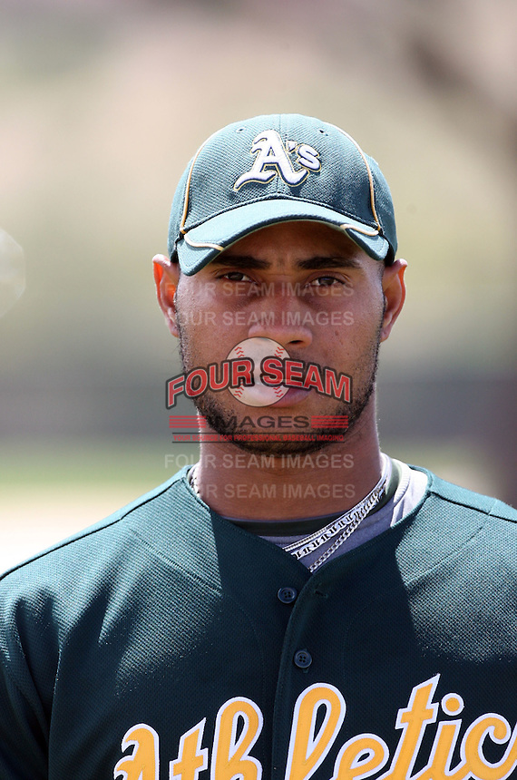 Fautino De Los Santos, Oakland Athletics 2010 minor league spring training..Photo by:  Bill Mitchell/Four Seam Images.