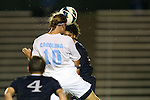 02 October 2012: UNC's Andy Craven (10) and Georgia Southern's Drew Ruggles (behind) challenge for a header. The University of North Carolina Tar Heels defeated the Georgia Southern Eagles 2-0 at Fetzer Field in Chapel Hill, North Carolina in a 2012 NCAA Division I Men's Soccer game.