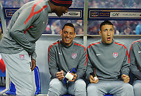 Jermaine Jones and Fabian Johnson of team USA react prior to the friendly match France against USA at the Stade de France in Paris, France on November 11th, 2011.