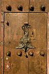 Colonial door, Doorknocker, Cartagena de Indias, Bolivar Department,, Colombia, South America.