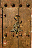 Colonial door, Doorknocker, Cartagena de Indias, Bolivar Department,, Colombia, South America.